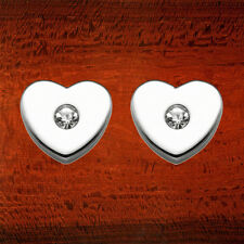 Stainless Steel Heart Shaped Stud Earrings with Faceted Crystals- IE6039