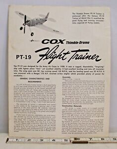 COX P-19 FLIGHT TRAINER GAS AIRPLANE INSTRUCTION BOOKLET 1960s