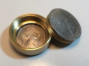 Pill Box British Half Crown Coin Britain- Snuff Box - Stash Box - Canadian Made