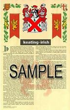KEATING Armorial Name History - Coat of Arms - Family Crest GIFT! 11x17