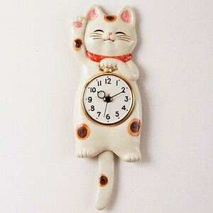 Lucky cat Japanese SETO ware porcelain Manekineko wall pendulum clock for gift