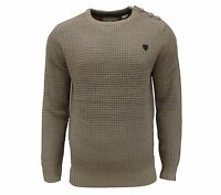 Soul Star Men's Canoe Crew Neck Waffle Knit Jumper Taupe