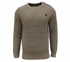 Soul Star Men's Canoe Crew Neck Knit Jumper Top Taupe