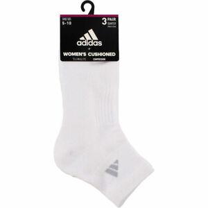 ADIDAS Women Cushioned 3-Pack Quarter Tennis Athletic Socks Size 5-10