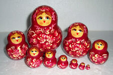 """Beautiful Russian Nesting Doll~10pc~5""""~GORGEOUS DARK RED~HAND PAINTED"""