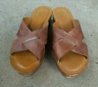 Kork - Ease Brown Leather Open Toe Wedge Slip On Sandals Casual Womens Sz 8 / 39