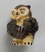 "Owl musician with a Lyre figurine Souvenir Bird NEW Polystone 54 mm / 2,1"""