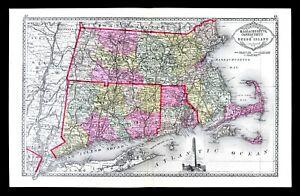 1886 Tunison Map Massachusetts Connecticut Rhode Island Boston Bunker Hill