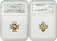 Cambodia 2004  Pyramids of Egypt 3000 Riels 1/25 oz Gold NGC MS69
