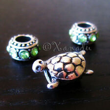 Turtle European Bead With Birthstone Charms For Charm Bracelets And Necklaces