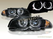 2000-2003 BMW 3-SERIES E46 2DR TWIN HALO HEADLIGHTS W/ CORNER LIGHT BLACK AMBER