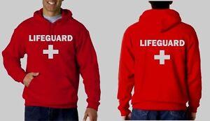 LIFEGUARD HOODIE HOODY JACKET SWEATSHIRT LIFE GUARD SHIRT RED frt.& bk New