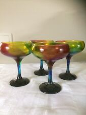 Gin Martini Iridescent  Bright Coloured Hand Painted Set Of Four Glasses Uk