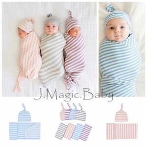 Newborn Baby Stripe Swaddle Sleeping Blanket Wrap Hat Beanie Set Photoprop