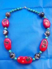 APARTE, severidad piedra con Coralino Malaquita 166 Gramos Collar