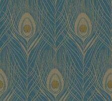 Peacock Feathers Vinyl  Wallpaper Gold Dark Teal  Blue Luxury Paste the Wall
