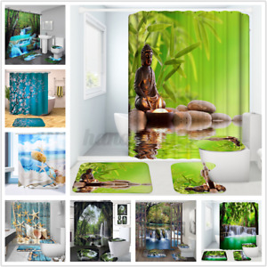 4Pcs/Set Buddha Shower Curtain Bath Toilet Cover Mat Rug Waterfall Waterproof