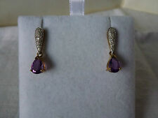 Beautiful 9ct 9Carat Yellow Gold Amethyst and Diamond Earrings