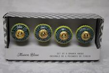 Maison Bleue Colorful Cabinet Drawer Pull Knobs - Green Yellow White - NEW S/4