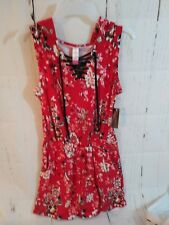 NWT NOBO jr M red Romper w/Hoodie/grommet lace up front/side inset scoop pockets