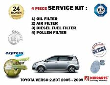 FOR TOYOTA COROLLA VERSO 2.2DT 2005-2009 SERVICE OIL AIR FUEL POLLEN FILTER KIT