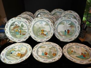 12 RARE Royal Doulton CHANG & KOONG-SE Willow Pattern Story Dinner Plate Antique