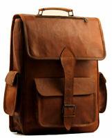 """Men's Handmade Vintage Leather 16"""" Laptop Bag Brown Backpack Rucksack Office Bag"""
