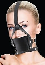 Faux Leather Head Harness Panel Gag Restraint Mask Mouth Gag Black