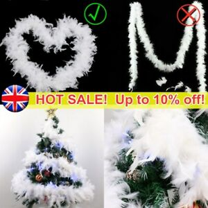 2M Party White Feather Boa Strip Party Garland Fancy Christmas Tree Decor NEW