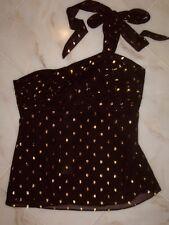 NWT Kenar Black Gold One Shoulder Top size 8 ~STUNNING~