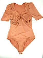 Win Win Apparel Rust Knit Bodysuit Made in USA Polyester Spandex Size Medium