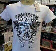 T-shirt Maglia Uomo Angel Devil con Stampa Logo argentata e borchiette Art Tu80 Bianco XL