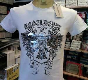 T-shirt maglia uomo Angel Devil con stampa logo argentata e borchiette art TU80
