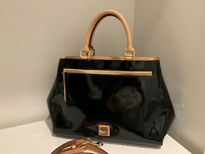 Dooney & Bourke Large Zip Patent Leather Satchel Tote Purse NWT