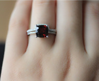 1.6ct Cushion Cut Red Garnet Engagement Ring 14k White Gold Finish Bridal Set
