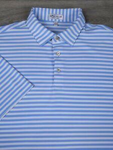 Peter Millar Summer Comfort Men's L Short Sleeve Polo Shirt Blue White Striped