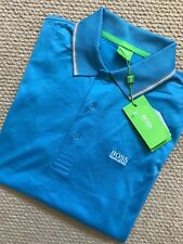 """HUGO BOSS GREEN LABEL BLUE """"GR-PATRY 2"""" GOLF POLO SHIRT TOP - SMALL - NEW & TAGS"""