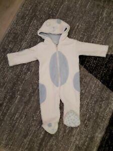 Overall Wagenanzug Schneeanzug Baby Gr. 74 Teddy blau weiß