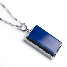 Natural Lapis Lazuli Royal Blue Crystal Rectangle Shape Pendant 33x18x8mm AAAA