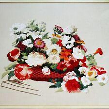Festive Floral Basket Erica Wilson Vintage Crewel Embroidery Kit Flowers