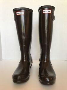 Hunter Original Tall Gloss Women's Rain Boots - Brown 7 US.