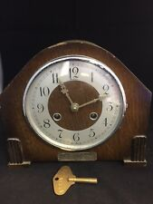 EARLY WOODEN CASED BENTIMA MANTEL CLOCK -SPARE OR REPAIR