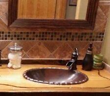 """19"""" x 14"""" Oval Copper Rope Rimmed Vessel Vanity Bathroom Sink"""