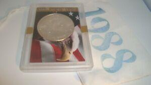 1988 American Silver Eagle 1oz 99.9% SILVER  EAGLE & FLAG Design Case & Pouch D3