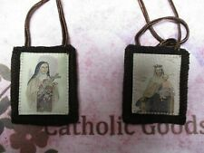 Saint Therese + Our Lady of Mt Carmel Brown Wool Scapular   NEW