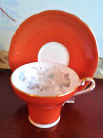 Aynsley Tea Cup and Saucer Orange w Flower Center Bone China England 1950s