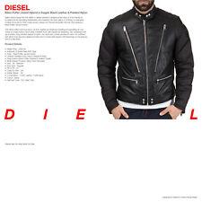 DIESEL New Black Leather Biker Puffer Jacket Hybrid - UK 38 EUR 48 - WAS £550.00