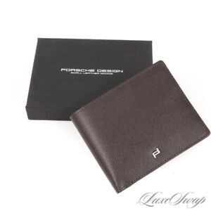 NIB Porsche Design Chocolate Brown Grained Leather Double Bifold Wallet Billfold