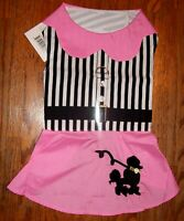 NEW Pink / Black Poodle Black Stripes Dog Harness Dress (Pick Size XS, S, M, L)