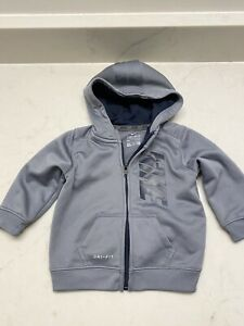 Nike Dry Fit Zip Up Hoodie Gray Size 6-9 Month Long Sleeve EUC